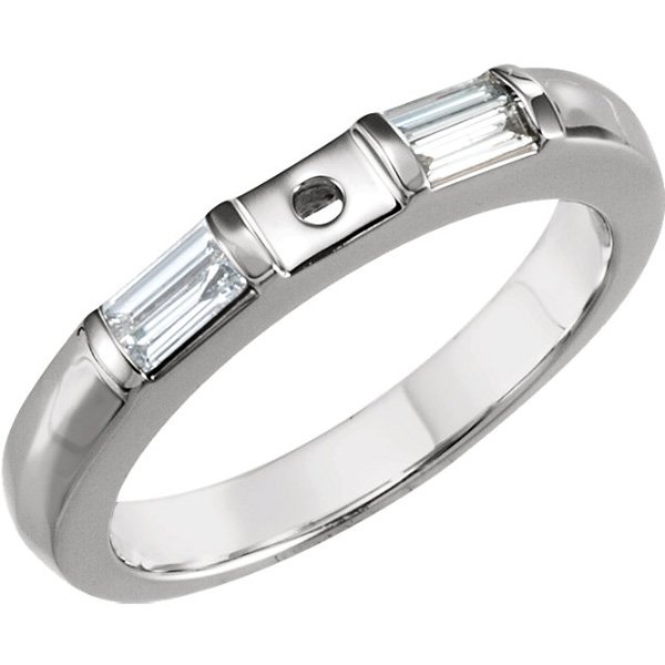 Fabulous Band Style Shank for Peg Setting With Diamond Baguette Side Gems in 14kt Gold