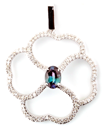 Fabulous Clover Style Brazilian Alexandrite and Diamond Pendant in 14k White Gold for SALE - 0.54 carats