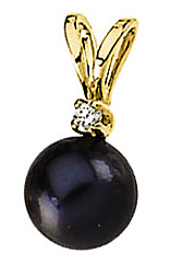 Fabulous Diamond & Black Pearl Pendant in 14 karat Yellow Gold with FREE Gold Chain