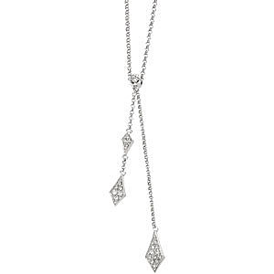 Fabulous Double Drop Style 14k White Gold Pendant With Kite Shaped Diamond Cluster Accents - FREE Chain - SOLD