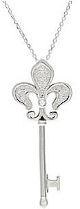 Fabulous Fleur-de-lis Sterling Silver and .2ct Diamond Key Pendant - FREE Chain Included