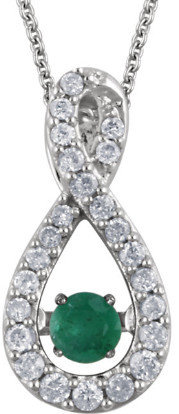 Fabulous Genuine .11ct 3mm Emerald Pendant With Diamond Studded Infiniti Frame - 14k White Gold - FREE Chain