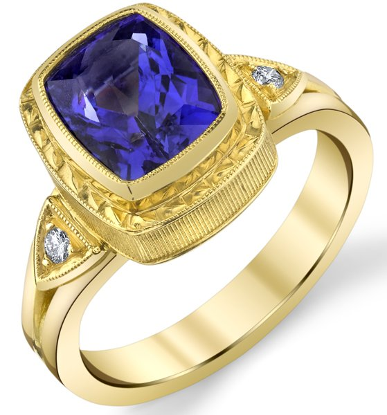 Fabulous Hand Made Bezel Set 2.98ct Cushion Cut Tanzanite 18 karat Yellow Gold Ring With Diamond Accents