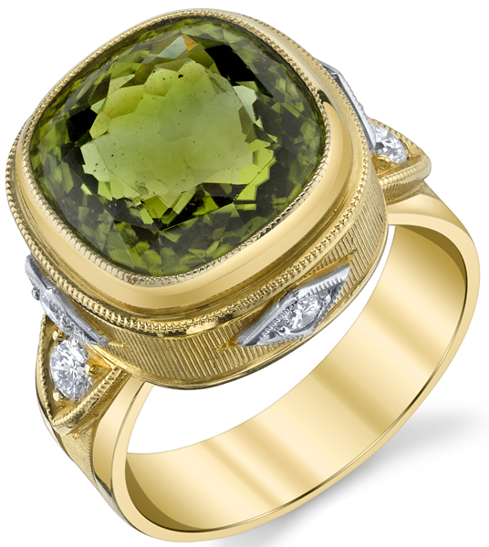 Fabulous Hand Made Bezel Set 8.15ct Peridot 18 karat Yellow Gold Ring With Diamond Accents