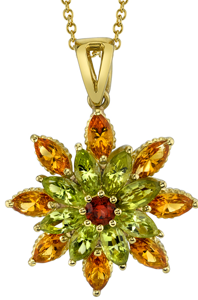 Fabulous Marquise Cut Peridot & Citrine 18kt Yellow Gold Flower Pendant - Round Garnet Center
