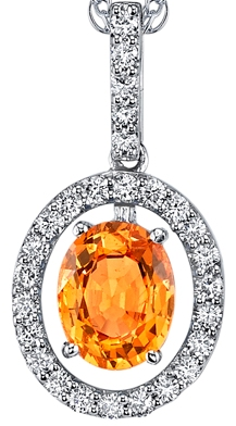 Fabulous Open Halo Style 1.80 ct Oval Spessartite Garnet Pendant in 18kt White Gold - 0.37ctw Diamond Accents