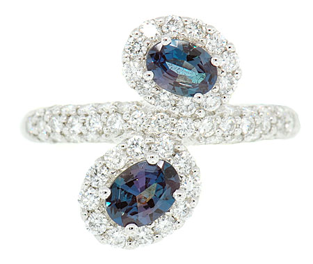 Fabulous Platinum Ring - 2 Beautiful 0.64cts 6x4mm Natural Alexandrites on a Slant Surrounded by Pave Diamond