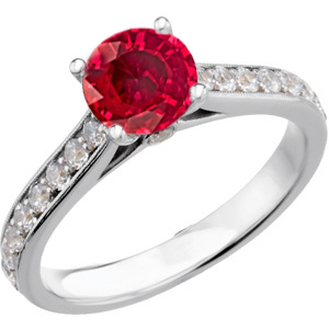 Fabulous Real Red GEM Grade Ruby Engagement Ring with 1 carat 6mm Ruby and Diamond Accents for SALE