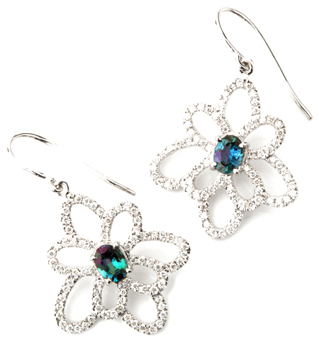 Fabulous Wire Back Flower Alexandrite Earrings With Diamond Outline Petals and Natural Alexandrite Centers - 0.76 carats, 6.05 x 4.42 mm