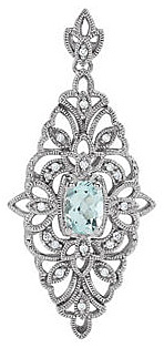 Fabulously Ornate 14k White Gold Finely Wrought Pendant With Aquamarine Center and Diamond Accents - FREE Chain With Pendant - SOLD