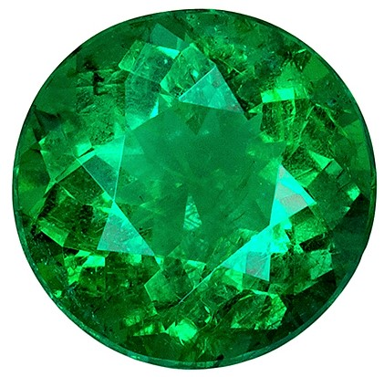 Fiery Brilliant 1.75 carat Emerald Gemstone, Round shape, Vivid Green Fine Stone in 8.1  mm Size