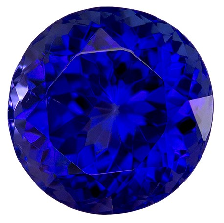 Faceted Vivid Tanzanite Gemstone, Round Cut, 5.33 carats, 10.3 mm , AfricaGems Certified - A Great Buy