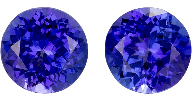 Faceted Vivid Tanzanite Gemstones, Round Cut, 3.8 carats, 7.5 mm Matching Pair, AfricaGems Certified - A Great Colored Gem