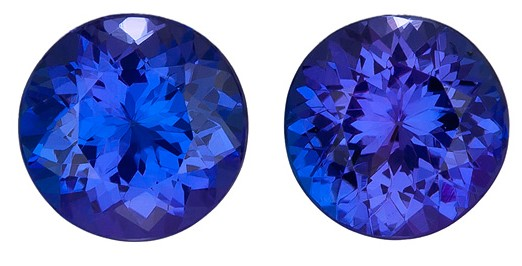Faceted Vivid Tanzanite Gemstones, Round Cut, 3.42 carats, 7.5 mm Matching Pair, AfricaGems Certified - Truly Stunning