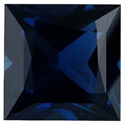 Faceted Blue Sapphire Gem, Princess Shape, Grade A, 3.75 mm in Size, 0.37 Carats