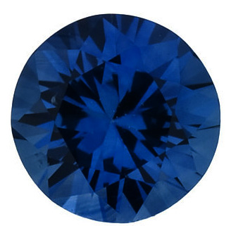 Faceted Blue Sapphire Gem, Round Shape, Diamond Cut, Grade A, 1.75 mm in Size, 0.03 Carats