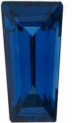 Faceted Blue Sapphire Gem, Tapered Baguette Shape, Grade AA, 3.00 x 2.00 x 1.75 mm in Size, 0.11 Carats
