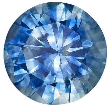 Faceted Blue Sapphire Gemstone, Round Cut, 0.54 carats, 4.9 mm , AfricaGems Certified - A Great Buy