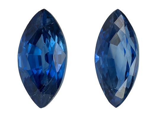 Faceted Blue Sapphire Gemstones, Marquise Cut, 0.74 carats, 6 x 3 mm Matching Pair, AfricaGems Certified - Great for Studs Pair