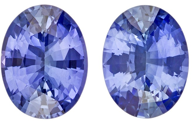 Faceted Blue Sapphire Gemstones, Oval Cut, 2.49 carats, 7.9 x 6 mm Matching Pair, AfricaGems Certified - Great for Studs