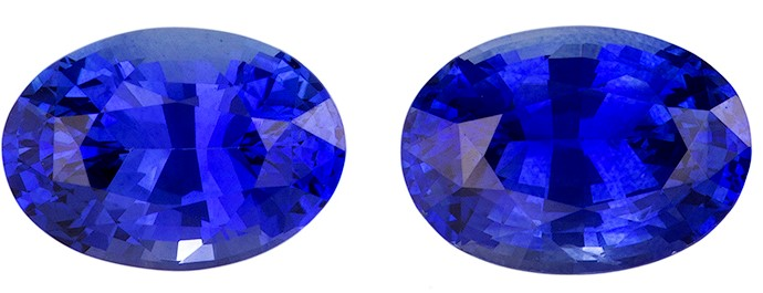 Faceted Blue Sapphire Gemstones, Oval Cut, 1.97 carats, 7 x 5 mm Matching Pair, AfricaGems Certified - A Deal