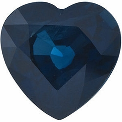 Faceted Blue Sapphire Stone, Heart Shape, Grade A, 7.50 mm in Size, 2.15 Carats
