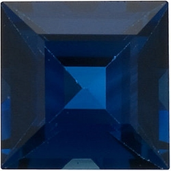 Faceted Blue Sapphire Stone, Square Step Shape, Grade AA, 2.75 mm in Size, 0.17 Carats