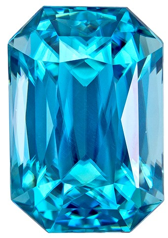 Faceted Blue Zircon Gemstone, Radiant Cut, 3.3 carats, 8.9 x 6.1 mm , AfricaGems Certified - A Deal