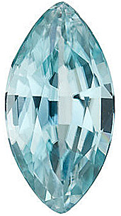 Faceted Blue Zircon Stone, Marquise Shape, Grade AA, 4.00 x 2.00 mm in Size,  0.13 Carats