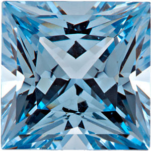 Faceted Chatham Created Aqua Blue Spinel Stone, Princess Shape, Grade GEM, 4.00 mm in Size, 0.4 Carats