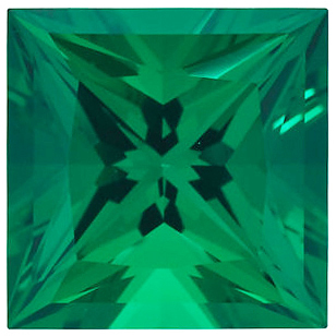 Faceted Chatham Created Emerald Gem, Princess Shape, Gemstone Grade GEM, 6.50 mm in Size, 1.25 Carats