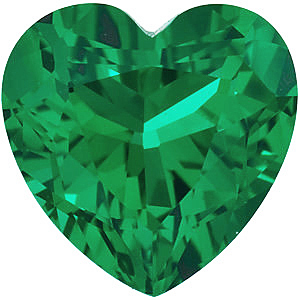 Faceted Chatham Created Emerald Gemstone, Heart Shape, Grade GEM, 7.00 mm in Size, 1 Carats