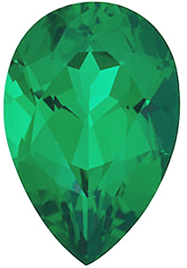Faceted Chatham Created Emerald Stone, Pear Shape, Grade GEM, 9.00 x 6.00 mm in Size, 1.1 Carats