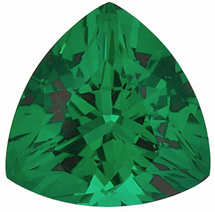 Faceted Chatham Created Emerald Stone, Trillion Shape, Grade GEM, 7.00 mm in Size, 0.95 Carats