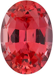 Faceted Chatham Created Padparadscha Sapphire Gemstone, Oval Shape, Grade GEM, 6.00 x 4.00 mm in Size, 0.6 Carats