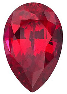Faceted Chatham Created Ruby Gemstone, Pear Shape, Grade GEM, 8.00 x 5.00 mm in Size, 1 Carats