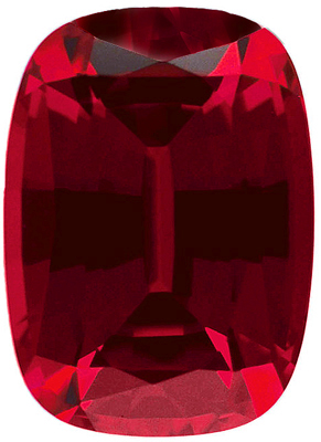 Faceted Chatham Created Ruby Stone, Antique Cushion Shape, Grade GEM, 8.00 x 6.00 mm in Size, 1.9 Carats