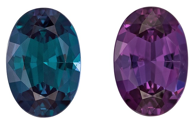 Faceted Color Change Alexandrite Gemstone, 0.98 carats, Oval Cut, 7.49 x 5.1 x 3.31 mm, A Highly Selected Gem with Gubelin Cert