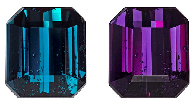 Faceted Color Change Alexandrite Gemstone, Emerald Cut, 2.11 carats, 7.45 x 6.61 x 4.5 mm , GIA Certified - A Great Colored Gem