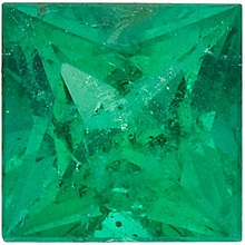 Faceted Emerald Gemstone, Princess Shape, Grade A, 2.50 mm in Size, 0.09 Carats