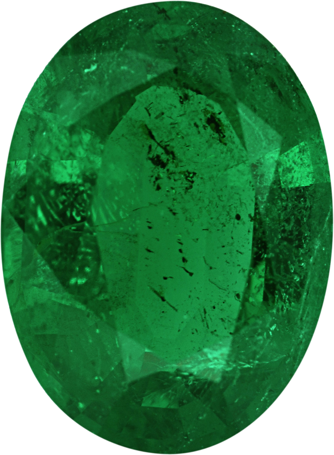 Faceted Emerald Loose Gem in Oval Cut, Vibrant Blue Green, 8.62 x 6.34  mm, 1.17 Carats