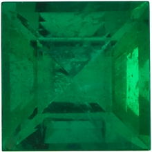 Faceted Emerald Stone, Step Shape, Grade AAA, 2.25 mm in Size, 0.08 Carats