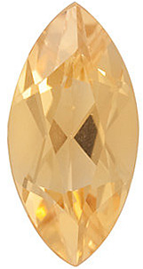 Faceted Golden Citrine Gem, Marquise Shape, Grade A, 5.00 x 2.50 mm in Size, 0.13 carats