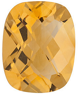 Faceted Golden Citrine Gemstone, Antique Cushion Shape Checkerboard, Grade A, 8.00 x 6.00 mm in Size, 1.26 carats