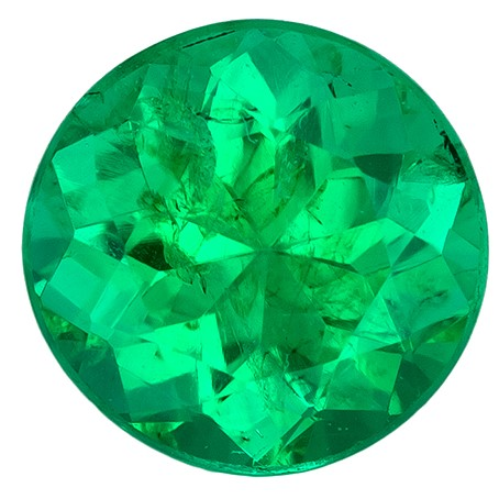 Faceted Vibrant Emerald Gemstone, Round Cut, 0.45 carats, 4.9 mm , AfricaGems Certified - A Gem of A Deal