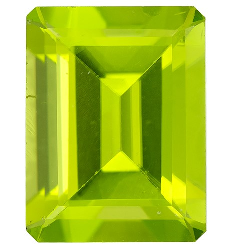 Faceted Vibrant Peridot Gemstone, Emerald Cut, 2.24 carats, 9 x 6.9 mm , AfricaGems Certified - A Deal