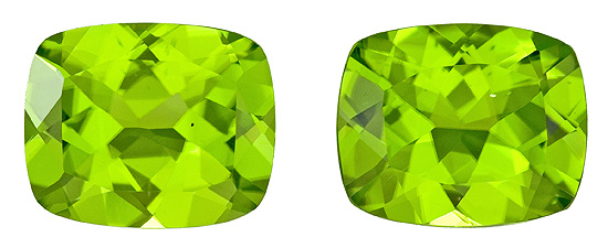 Faceted Vibrant Peridot Gemstones, Cushion Cut, 8.42 carats, 11 x 9 mm Matching Pair, AfricaGems Certified - A Great Buy