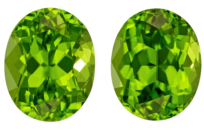 Faceted Vibrant Peridot Gemstones, Oval Cut, 6.57 carats, 10 x 8 mm Matching Pair, AfricaGems Certified - A Deal