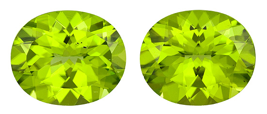 Faceted Vibrant Peridot Gemstones, Oval Cut, 9.89 carats, 12 x 10 mm Matching Pair, AfricaGems Certified - Great for Studs