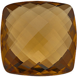 Faceted Honey Quartz Gemstone, Antique Square Shape Double Sided Checkerboard, Grade AA, 20.00 mm in Size, 30.25 Carats